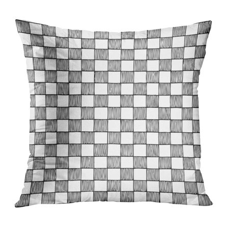 ECCOT Gray Pattern Checkboard Drawing Checker Checkerboard Board White Black Pillow Case Pillow Cover 18x18 inch ()