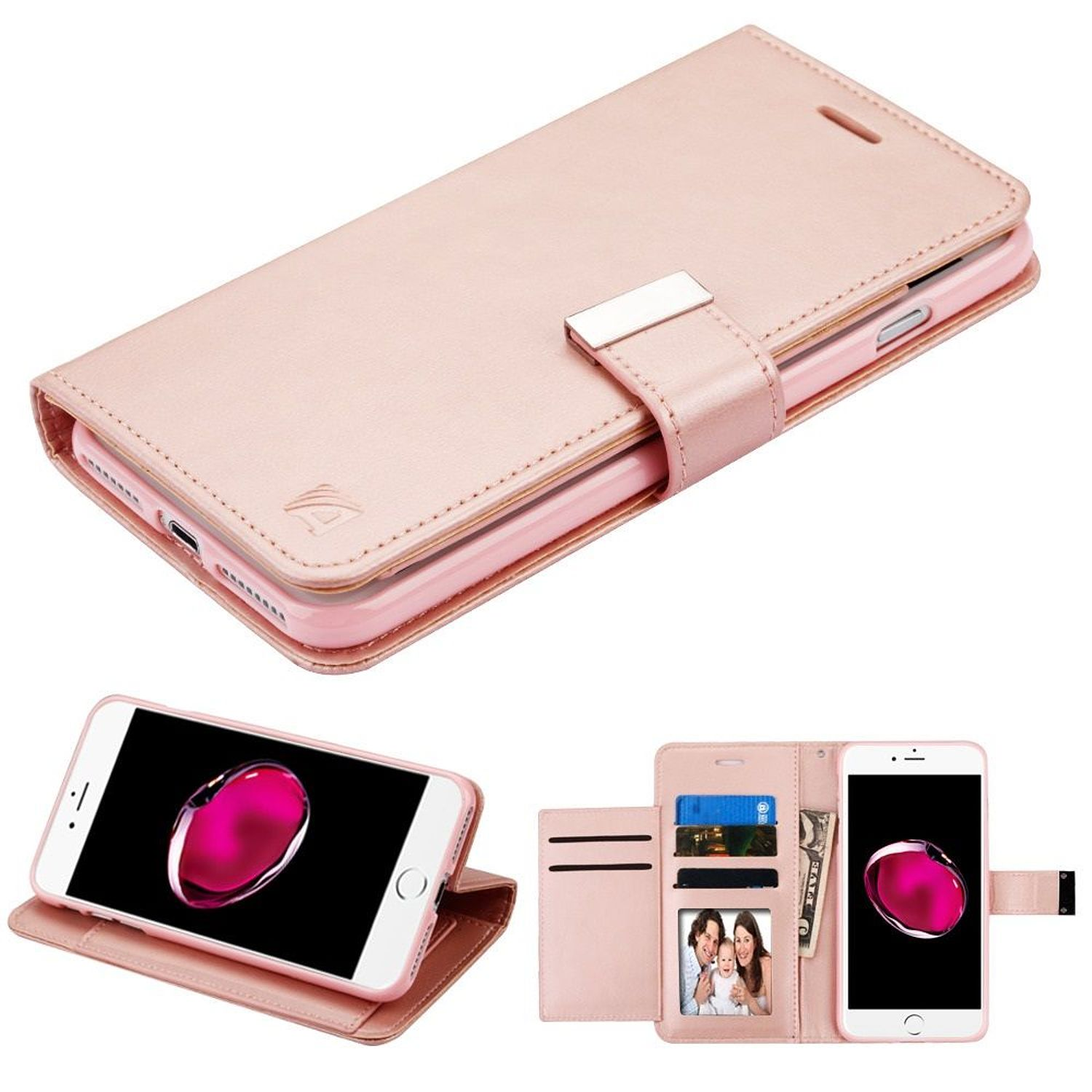Insten Stand Book-Style Leather [Card Holder Slot] Wallet Pouch Case Cover For Apple iPhone 8 Plus / iPhone 7 Plus - Rose Gold