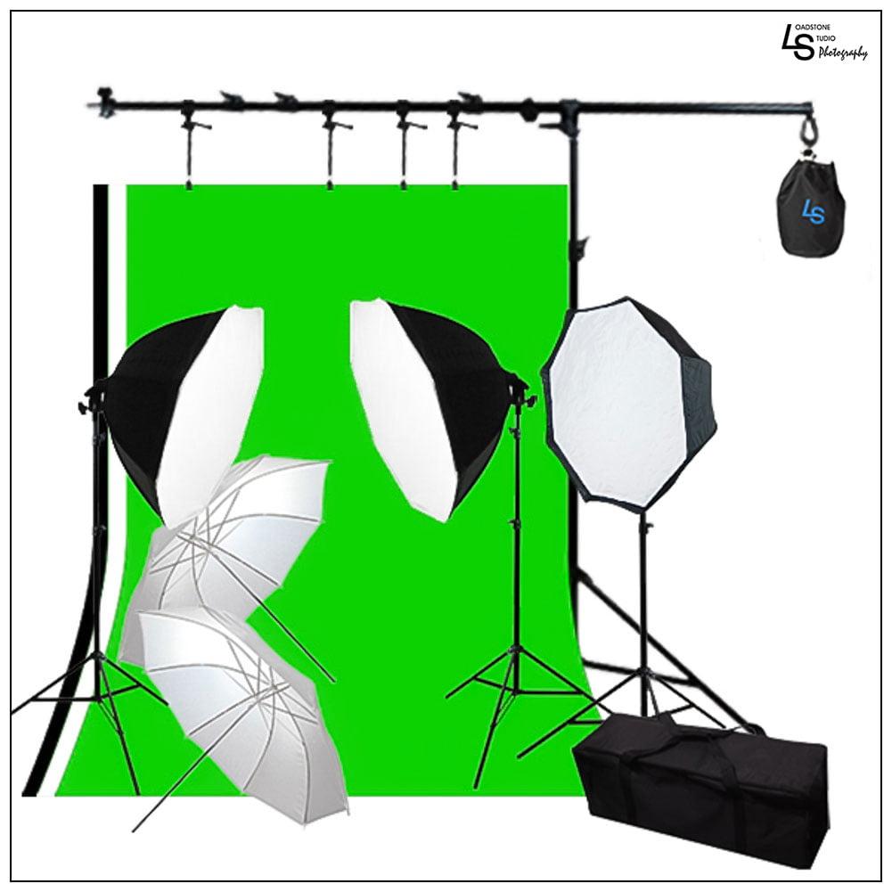 Iluminacion Para Camara Octagon Softbox Kit con muselinas de Triple fondo, soporte de telón de fondo y extensión de brazo de pluma por Loadstone Studio WMLS0974 + Loadstone Studio en Veo y Compro