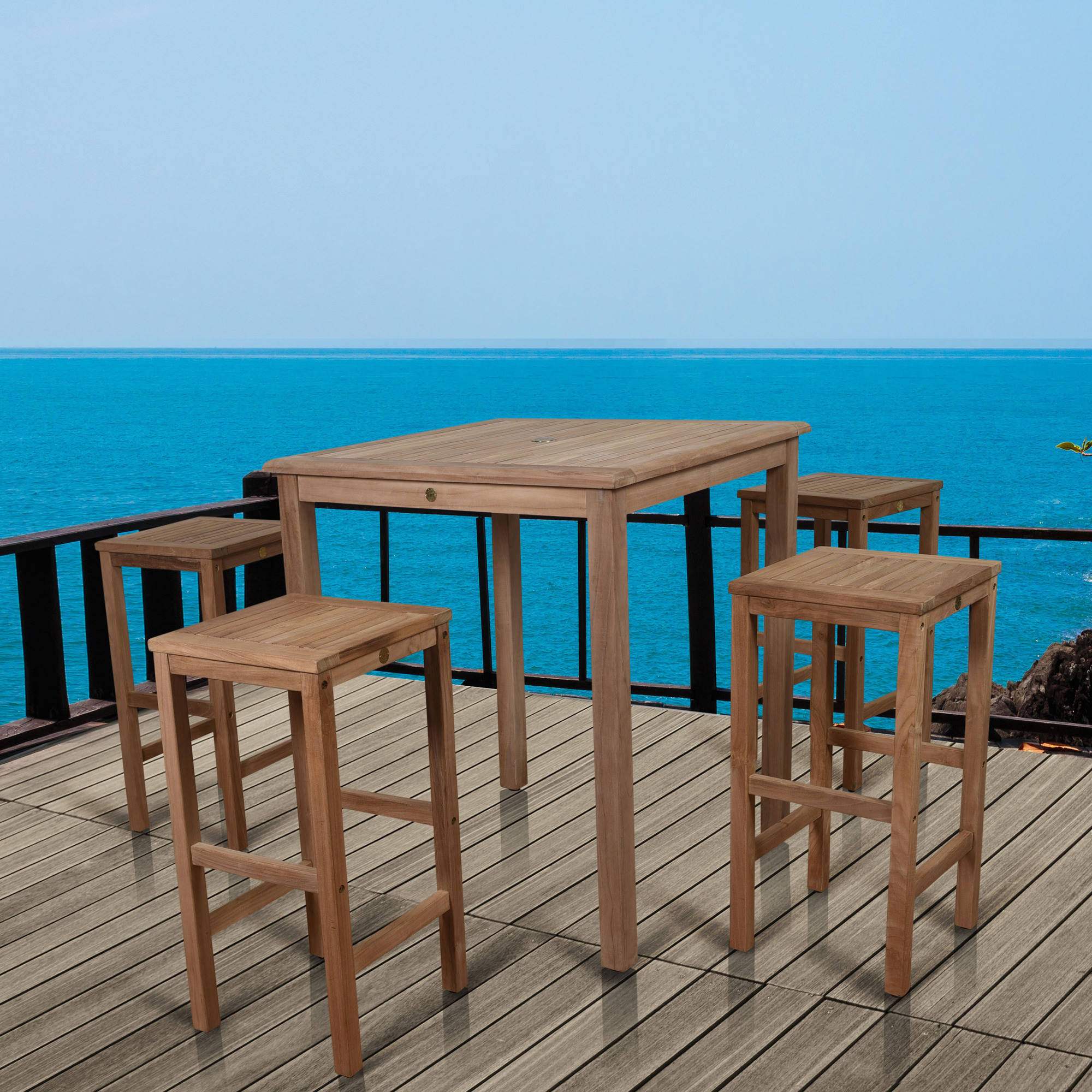 Amazonia Ares Pub Table set with 4 Texas Teak Wood Bar Stools by INTERNATIONAL HOME