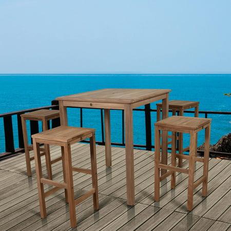 Image of Amazonia Ares Bar Table with 4 Texas Teak Wood Barstools