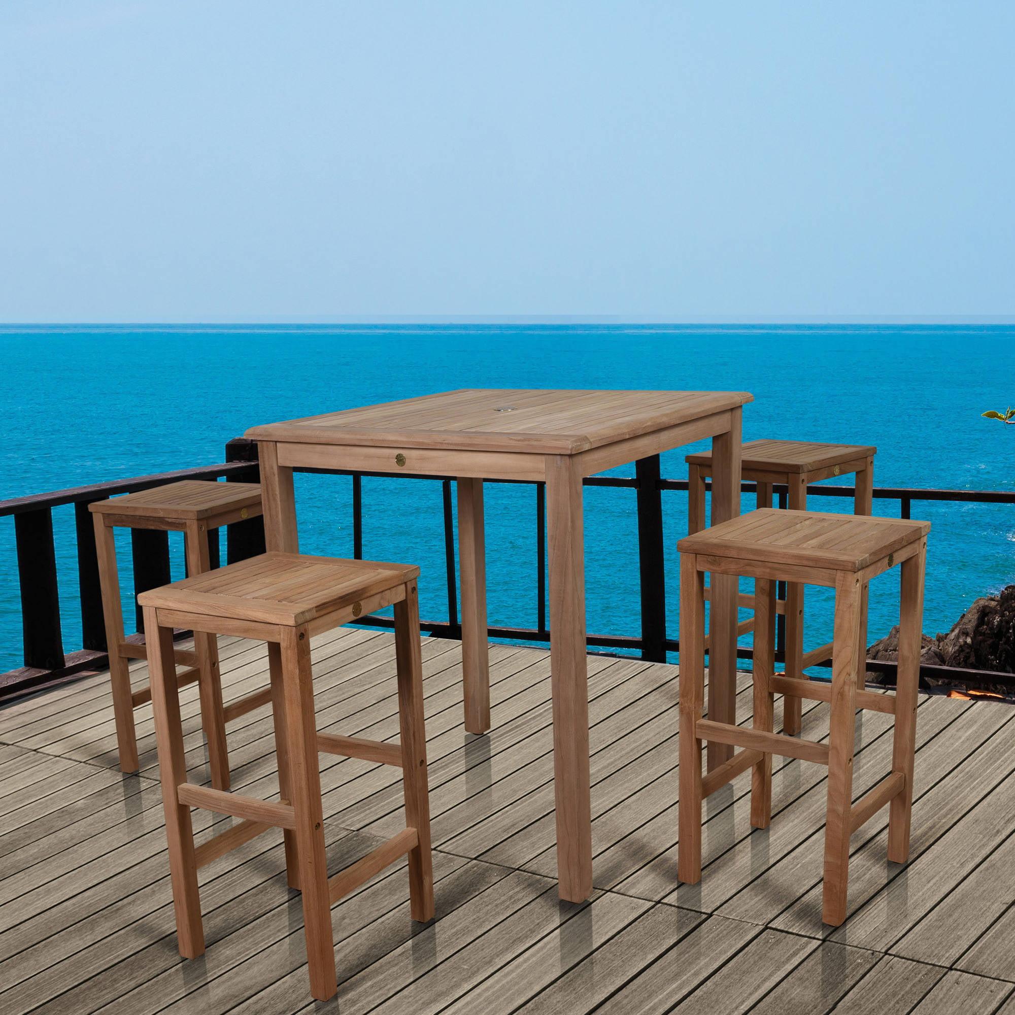 Amazonia Ares Bar Table set with 4 Texas Teak Wood Barstools