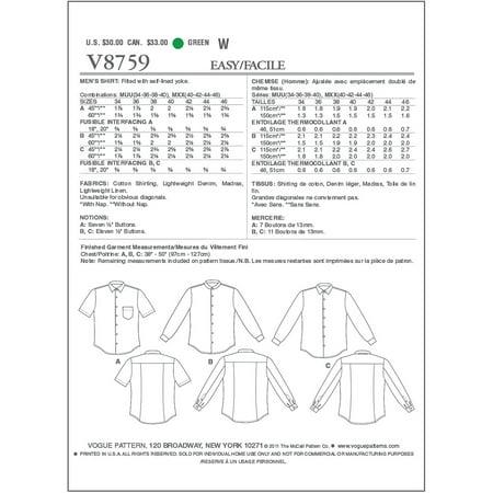 Vogue Pattern Men S Shirt Mxx 40 42 44 46