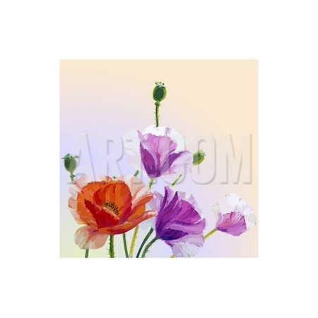 Oil Painting. Spring Card with Poppies Flowers Print Wall Art By Valenty Spring Oil Painting