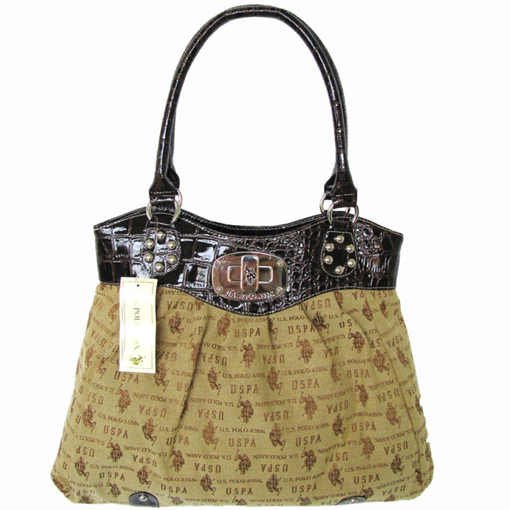 U.S. Polo Assn. Womens 'Lockdown Jacquard' Double Handle Tote Bag