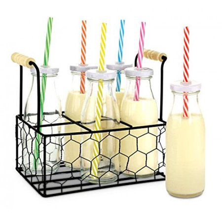 KOVOT 9-Oz Glass Milk Bottle Set of 6 With Metal Rack - Includes Reusable Hole-Top Lids and Colorful Straws (Glass Milk)