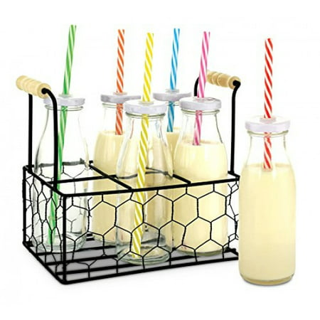 KOVOT 9-Oz Glass Milk Bottle Set of 6 With Metal Rack - Includes Reusable Hole-Top Lids and Colorful Straws
