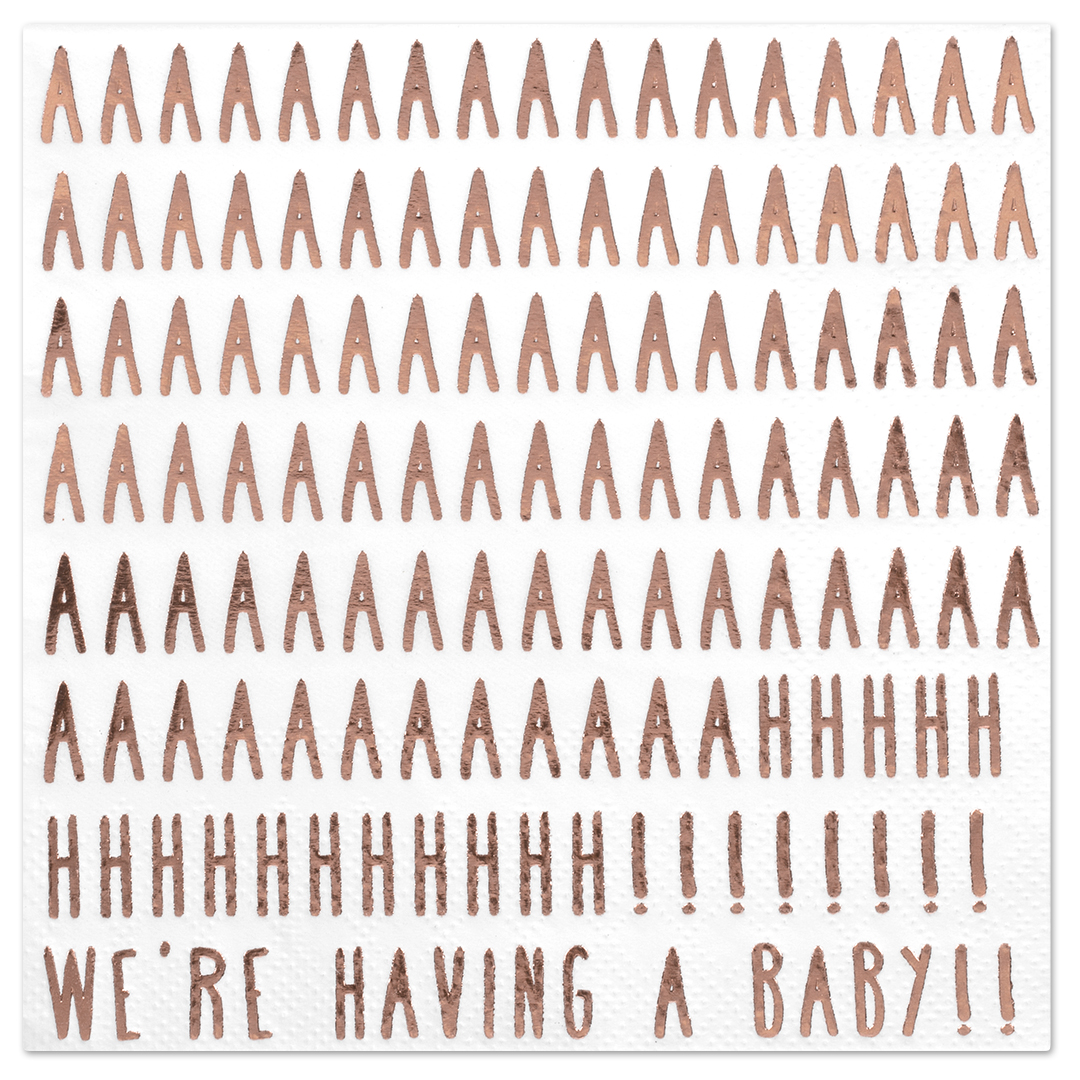 Koyal Wholesale We're Having a Baby Funny Quotes Cocktail Napkins, Rose Gold Foil, Bulk 50 Pack Count 3 Ply Napkins