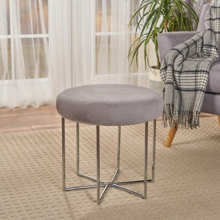 Noble House Glam Furry Ottoman with Silver Metal Legs,Grey (Nobel Metals)