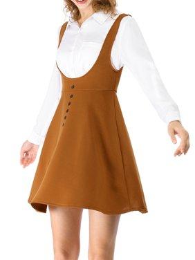 Women's Above Knee Flared Hem Suspender Skirt Dress L Brown