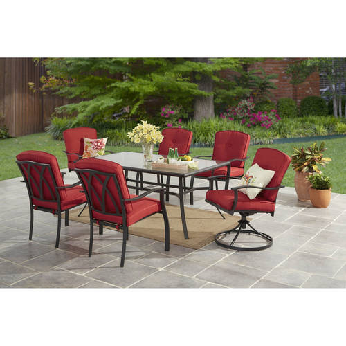 Merveilleux Mainstays Belden Park 7 Piece Dining Set, Red