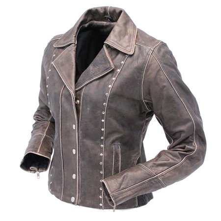 Rivet Trim Vintage Leather Motorcycle Jacket For Women La4041zrdn