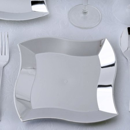 BalsaCircle Silver 12 pcs 7-Inch Plastic Wave Plates - Disposable Wedding Party Catering Tableware](Silver Plates)