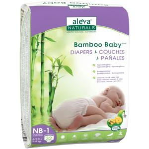Aleva Naturals Bamboo Baby Diapers, Size NB to 1, 32 Count - 192 Bamboo Baby Diapers -Has Wetness Indicator -Ultra Soft - Cloth Like Feel - Maximum Comfort for Baby - Extra Leak Protection - Made