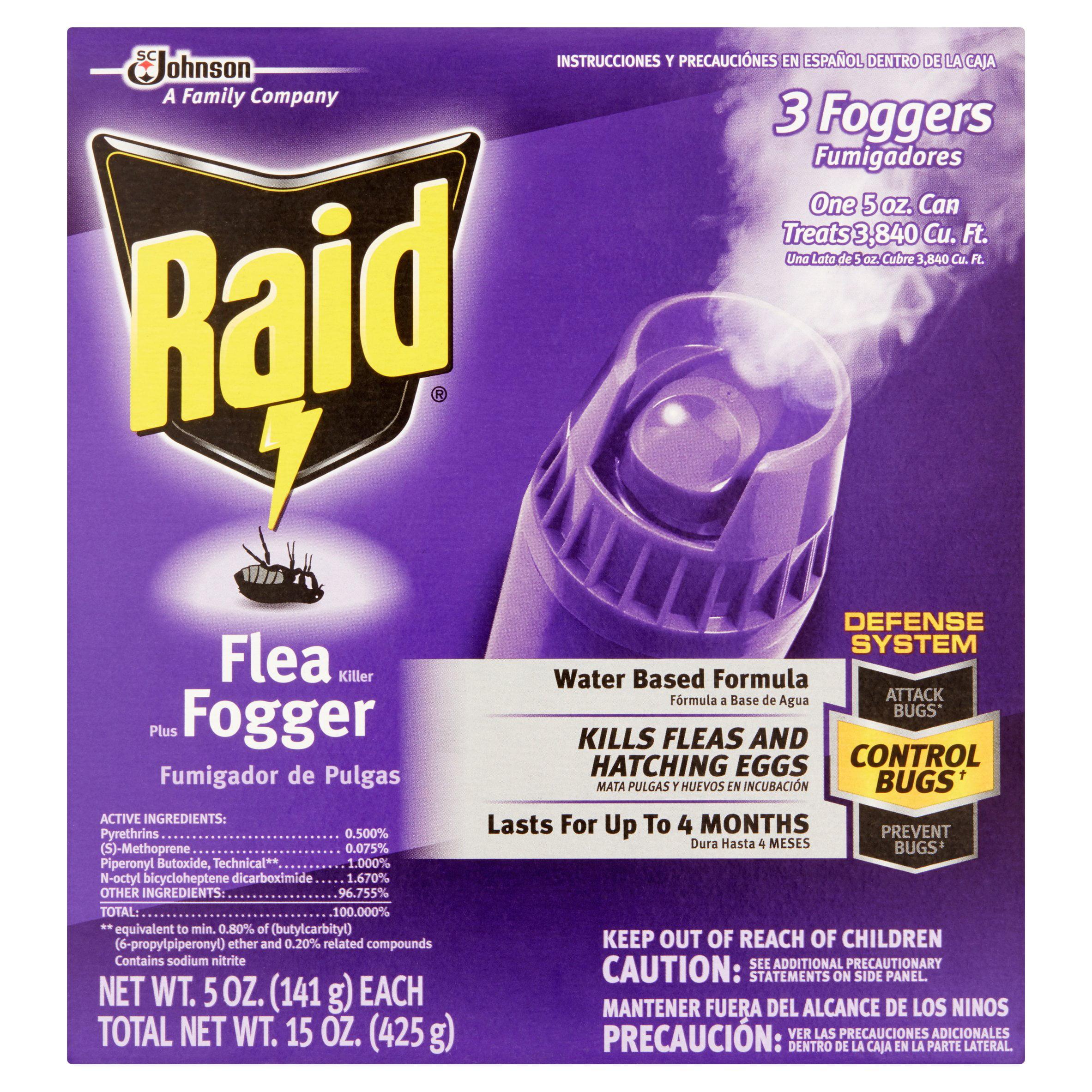 Raid Plus 3 Foggers Flea Killer, 15 oz