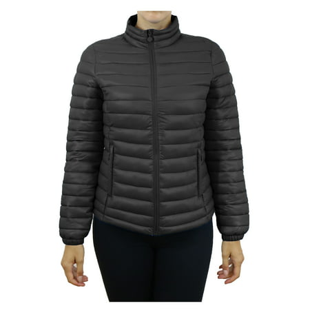 Womens Lightweight Puffer Bubble Jackets With Side Zipper - Silver Fusion Jackets
