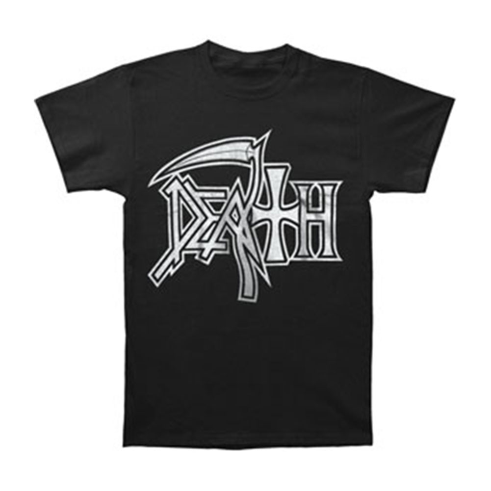 Death Men's  Large Silver Logo T-shirt Black