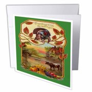 3dRose Vintage Thanksgiving Greetings, Greeting Cards, 6 x 6 inches, set of 6