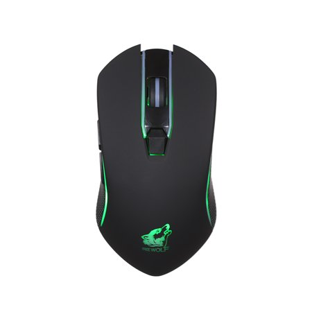 Free Wolf Wireless Gaming Mouse with 1600DPI Silent Gaming Mice of 3 Adjustable DPI and 2 Programmable Buttons with Built-in Rechargeable Battery 2.4G Wireless Transmission