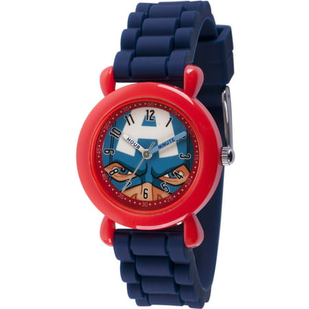Avenger Captain America Boys' Red Plastic Time Teacher Watch, Blue Silicone Strap