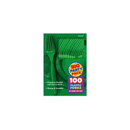 Big Party Pack Festive Green Plastic Forks, 100ct - Big Top Party Rentals