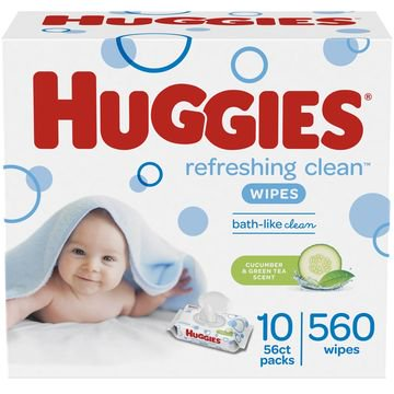 HUGGIES Refreshing Clean Baby Wipes 10x Flip-top Pks (560 Total Wipes)