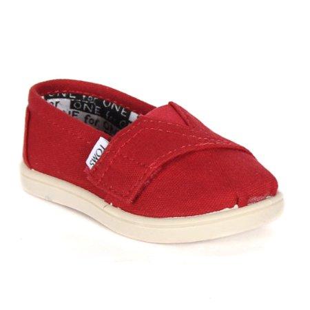 toms unisex alpargata slip on sneakers (infant/toddler/big kid), red, 2 m us infant