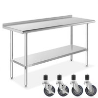 """GRIDMANN NSF Stainless Steel Commercial Kitchen Prep & Work Table w/ Backsplash Plus 4 Casters- Multiple Sizes Available - 30"""" 36"""" 48"""" 60"""" 72"""""""