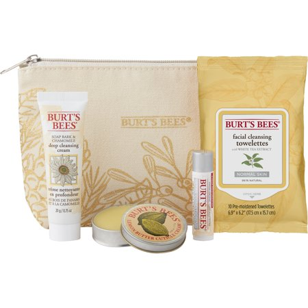 - Burt's Bees Essentials Travel Kit Holiday Gift Set, 4 Skin Care Products - Cleansing Towelettes, Deep Cleansing Cream, Cuticle Cream and Lip Balm