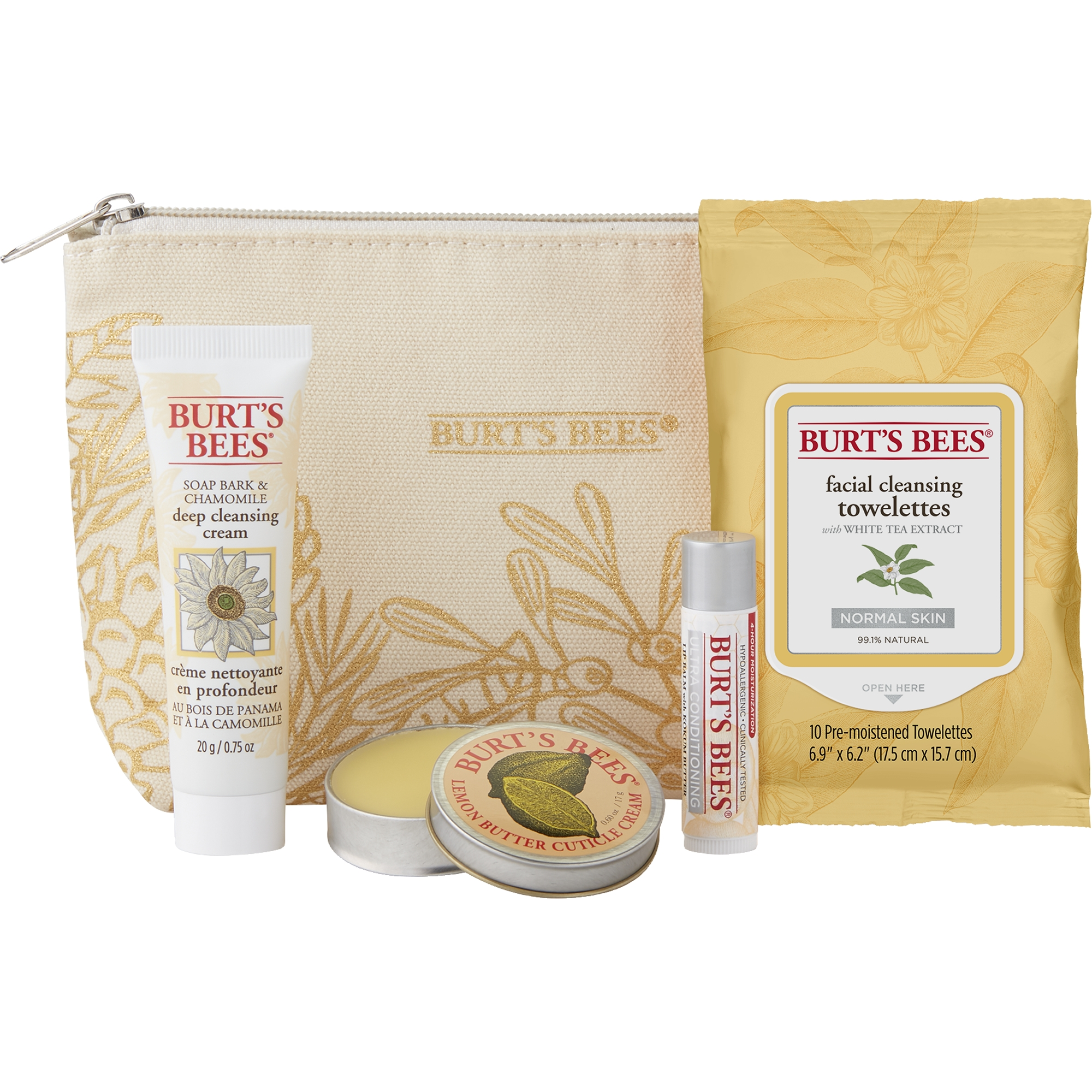 Burt's Bees Essentials Travel Kit Holiday Gift Set, 4 Skin Care Products - Cleansing Towelettes, Deep Cleansing Cream, Cuticle Cream and Lip Balm
