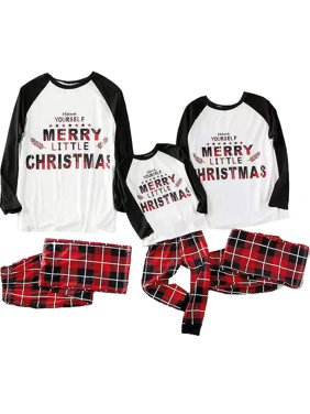 2 Pcs Casual Autumn Winter Long Sleeve Full Length Family Matching Adult Women Dad Kids Christmas Xmas Party Pyjamas Sleepwear Nightwear PJs Sets