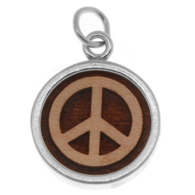 Sterling Silver Charm, Peace Sign 23mm, 1 Piece, Maplewood