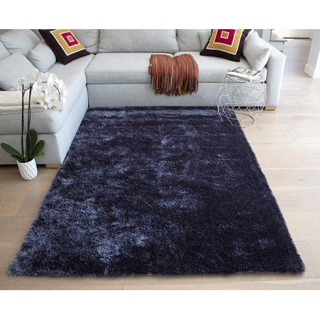 Gray Grey 5'x7' Feet Shag Shaggy Fuzzy Furry Contemporary Modern Decorative Designer Solid Soft Pile Living Room Bedroom Area Rug Carpet Polyester Canvas Backing Hand Woven Aroma Gray Hand Knotted ()