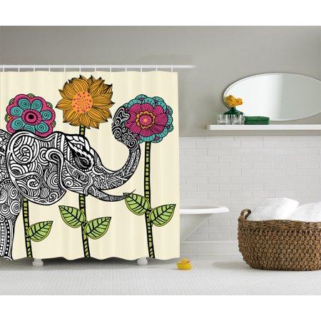 Flowers Elephant Art Fabric Shower Curtain Ivory Green Fuchsia Teal Orange Black