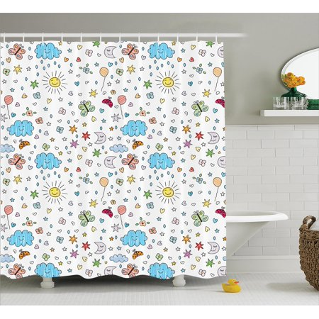 Shower Curtain Set Smiling Sun Moon Stars Clouds Flowers