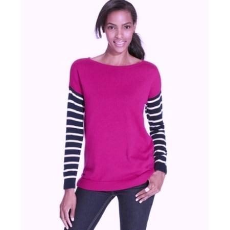 American Living Women's Striped Sleeve Sabrina Pink Multi Sweater Size L (America Size)