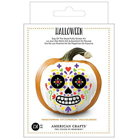 American Crafts 376623 Day of The Dead Halloween Sticker Kit Day of The Dead Foam 258Piece - Halloween Printable Crafts