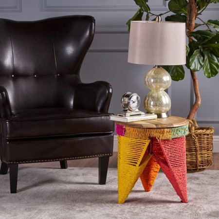 Alvin Multicolor Cotton End Table with Mango Wood