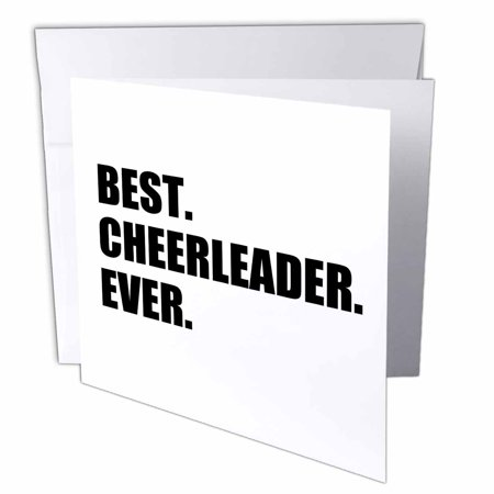 Greatest Halloween Card Ever (3dRose Best Cheerleader Ever - text - greatest head or team cheerleading girl, Greeting Cards, 6 x 6 inches, set of)