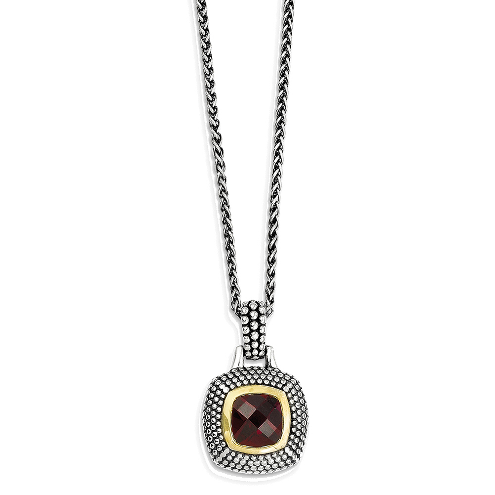 Sterling Silver Gold-tone Flash Gold-plated Garnet Necklace QTC31 by