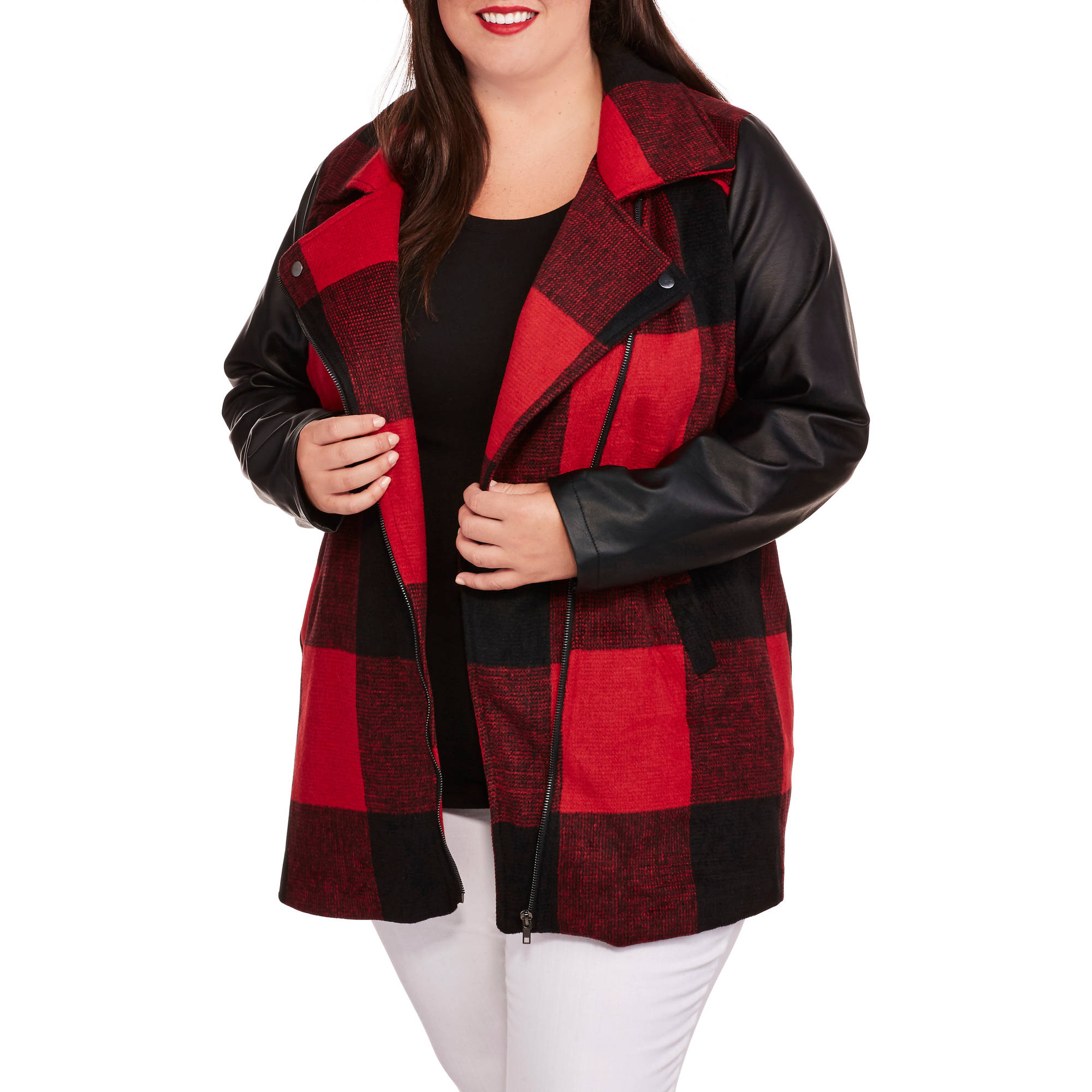 Women's Plus-Size Buffalo Plaid Faux Wool Coat with Faux Leather Sleeves