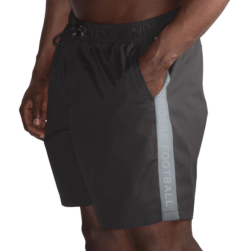 Oakland Raiders G-III Sports by Carl Banks Volley Swim Trunks - Black/Silver
