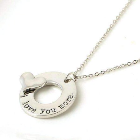 CLEARANCE  - I Love You More - 3D Heart Stamped Charm Necklace Silver