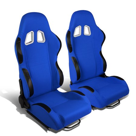 Front Replacement Seat Slider - Set of 2 Type-R Woven Fabric Reclinable Racing Seats w/ Universal Sliders (Blue Body/Black Trim)