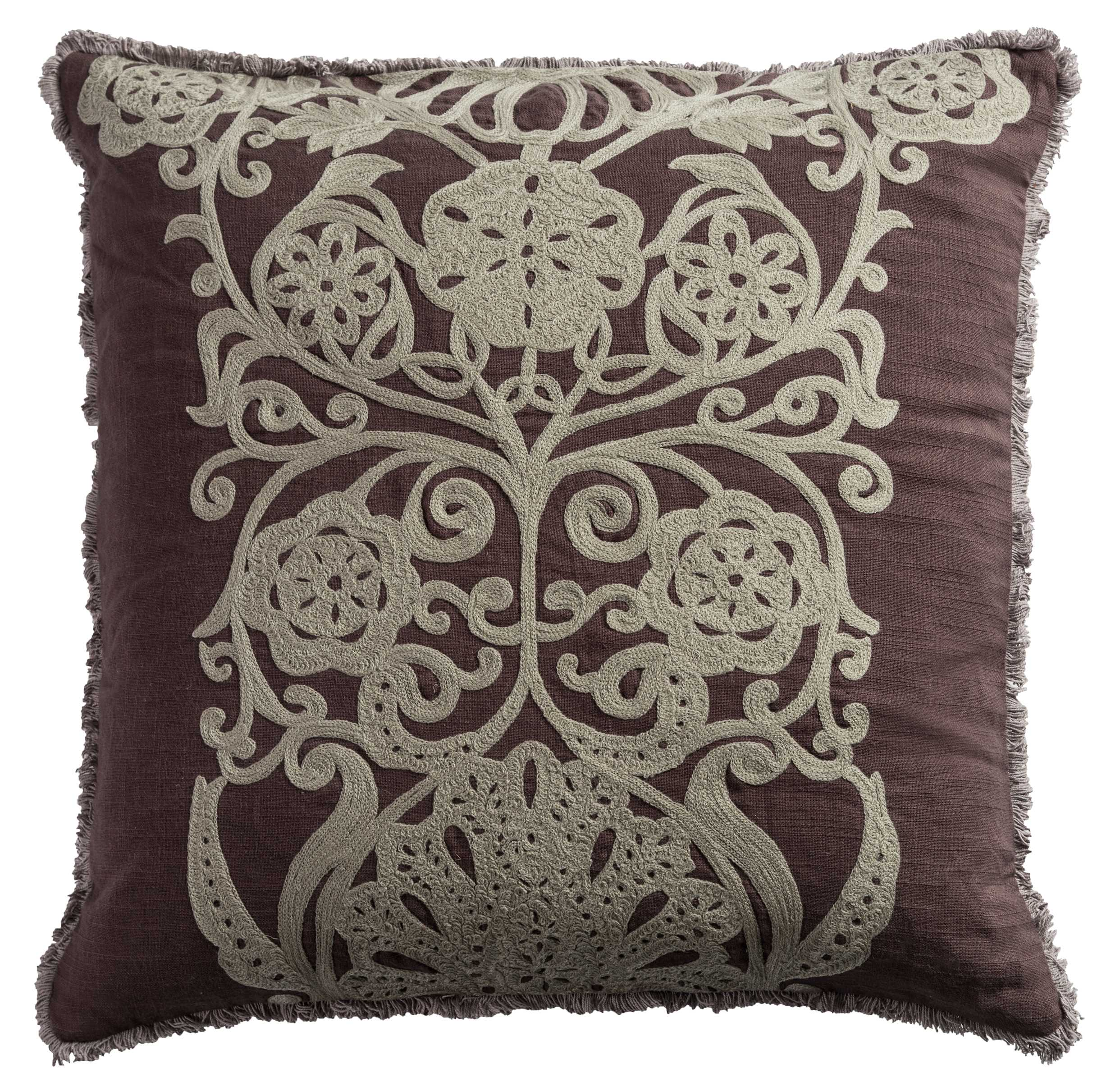 "Rizzy Home Decorative Poly Filled Throw Pillow Medallion 20""X20"" Plum"