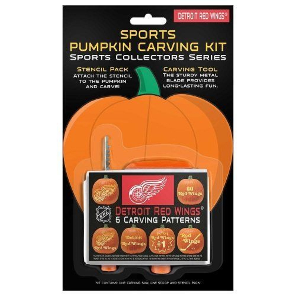 Detroit Red Wings Pumpkin Carving Kit 6 Patterns NHL Halloween Decoration