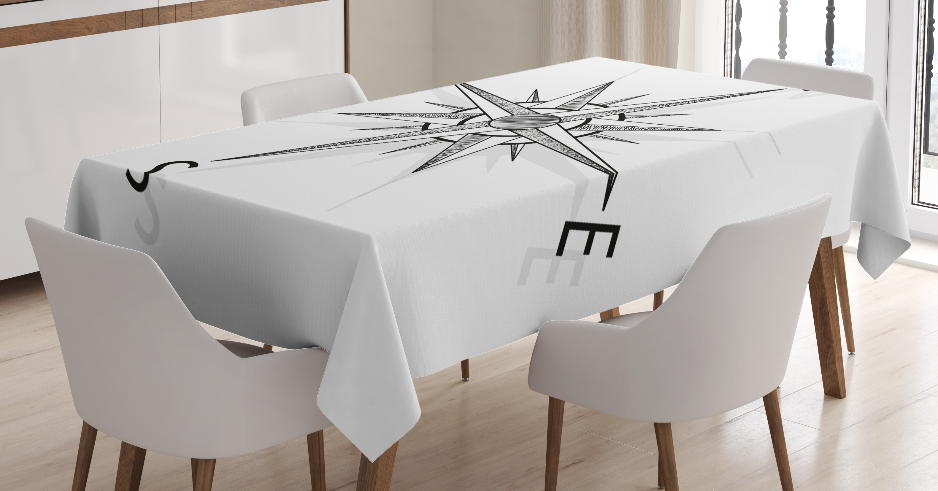Compass Tablecloth, Black And White Compass For Finding Your Way On The Sea  Marine Life