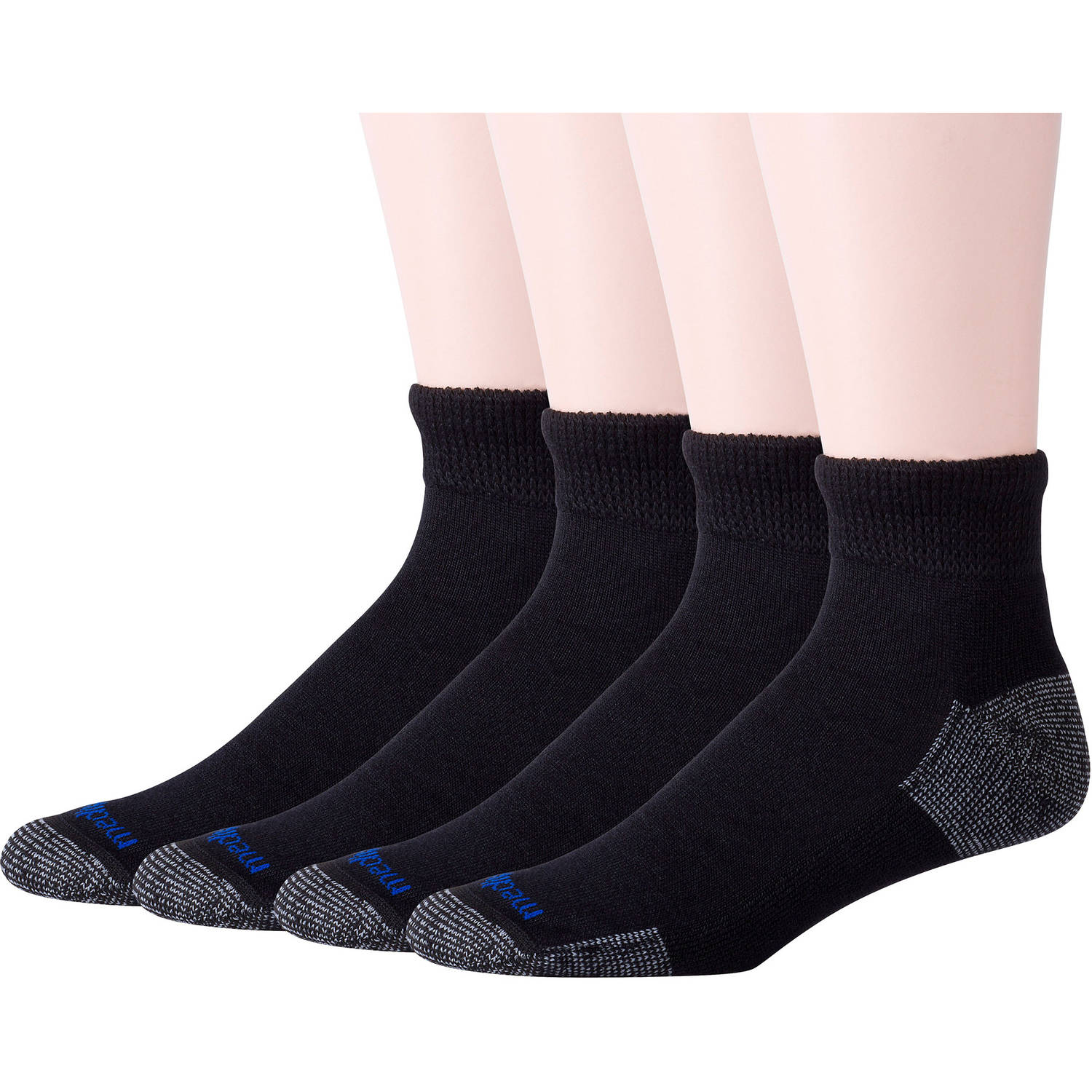 Men's Diabetic Nanoglide Quarter Socks with Non-Binding Top Value Pack, 4 Pairs