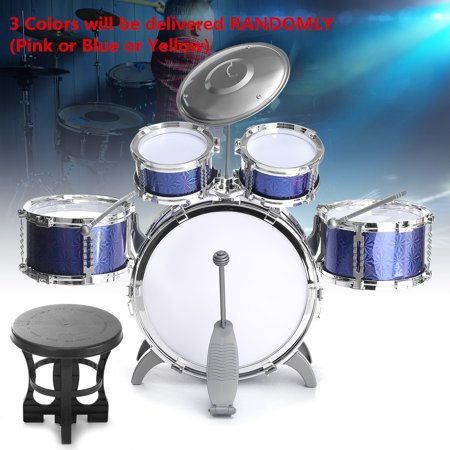 11-Piece Kids Starter Drum Set w/ Bass Drum, Tom Drums, Snare, Cymbal, Stool, Drumsticks - Random Color Children Christmas Best