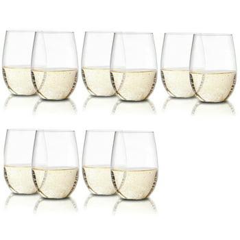 10-Pack En Soiree Stemless Wine Glasses, 16oz